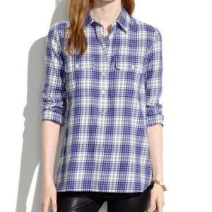 madewell market popover in blustem plaid sz small